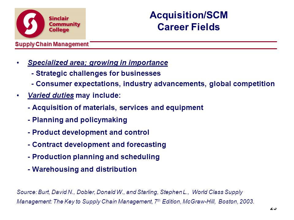 Supply Chain Management 23 Acquisition/SCM Career Fields Specialized area; growing in importance - Strategic challenges for businesses - Consumer expectations, industry advancements, global competition Varied duties may include: - Acquisition of materials, services and equipment - Planning and policymaking - Product development and control - Contract development and forecasting - Production planning and scheduling - Warehousing and distribution Source: Burt, David N., Dobler, Donald W., and Starling, Stephen L., World Class Supply Management: The Key to Supply Chain Management, 7 th Edition, McGraw-Hill, Boston, 2003.