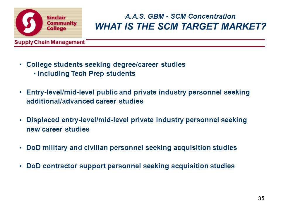 Supply Chain Management 35 A.A.S. GBM - SCM Concentration WHAT IS THE SCM TARGET MARKET.