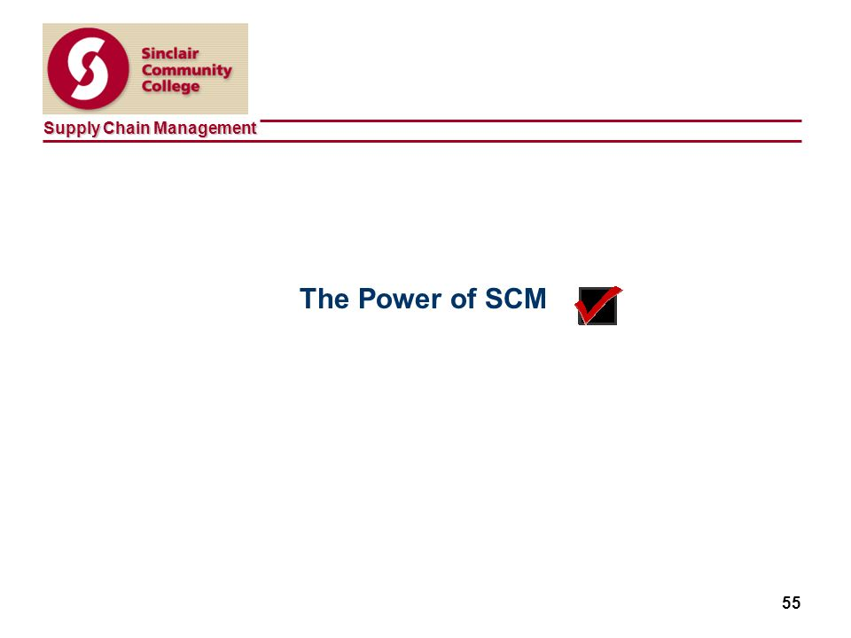 Supply Chain Management 55 The Power of SCM