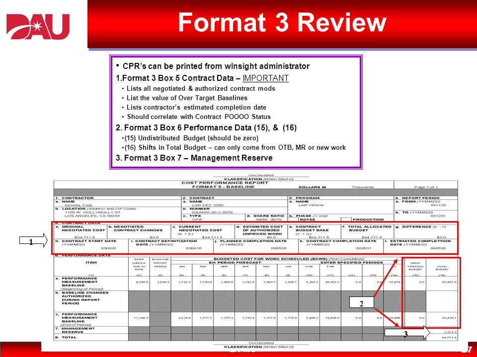 EVMS 27 Format 3 Review CPRs can be printed from wInsight administrator 1.Format 3 Box 5 Contract Data – IMPORTANT Lists all negotiated & authorized c