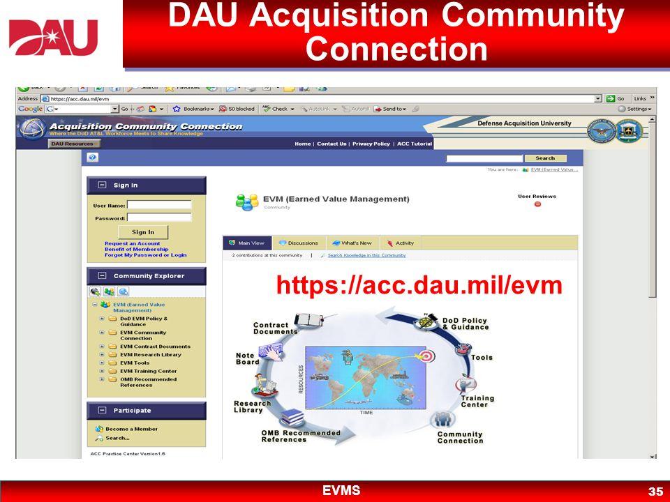 EVMS 35 DAU Acquisition Community Connection https://acc.dau.mil/evm