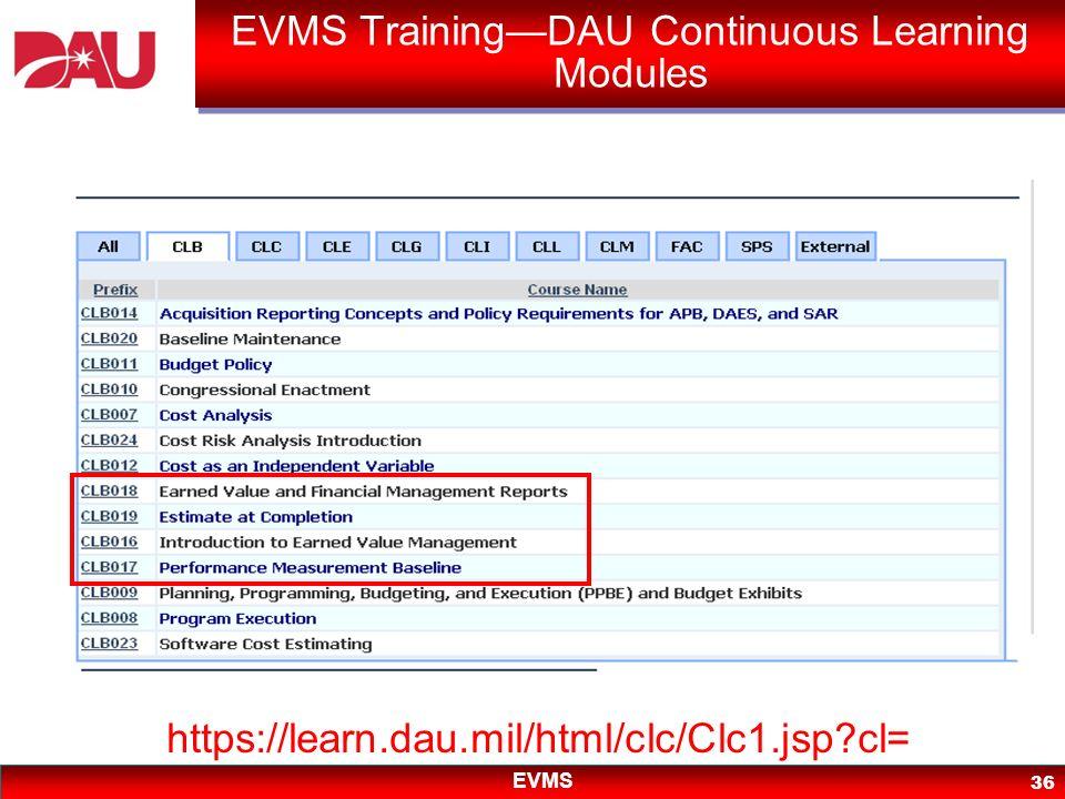 EVMS 36 EVMS TrainingDAU Continuous Learning Modules https://learn.dau.mil/html/clc/Clc1.jsp?cl=