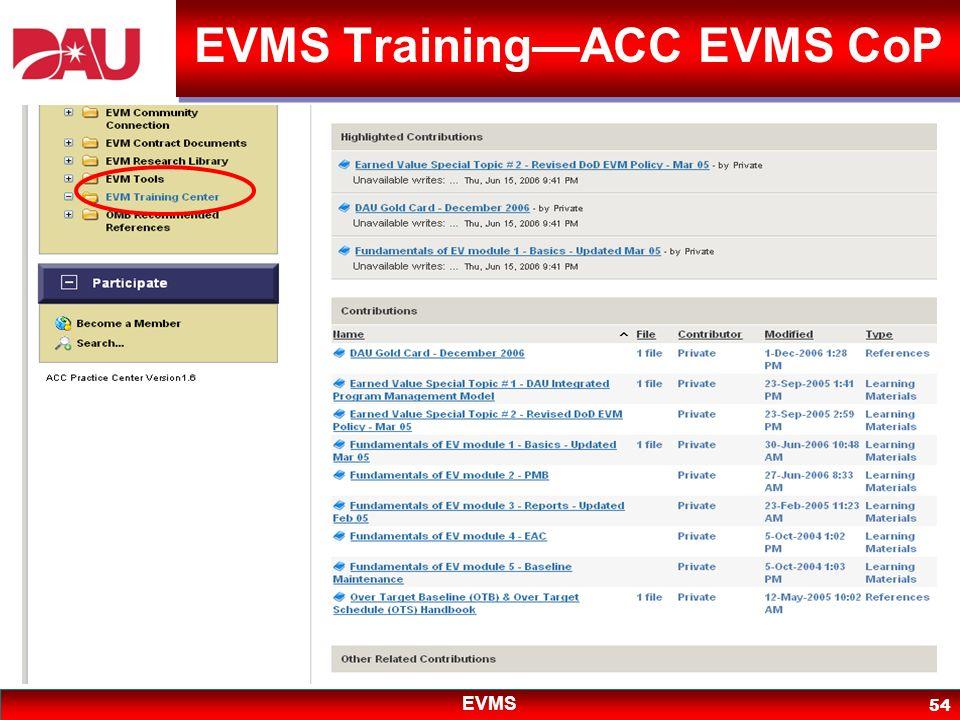 EVMS 54 EVMS TrainingACC EVMS CoP