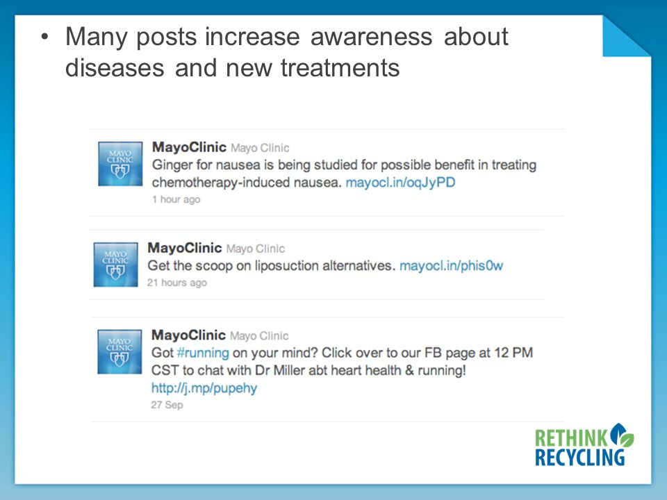 Many posts increase awareness about diseases and new treatments
