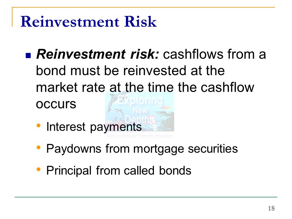 18 Reinvestment risk: cashflows from a bond must be reinvested at the market rate at the time the cashflow occurs Interest payments Paydowns from mortgage securities Principal from called bonds Reinvestment Risk