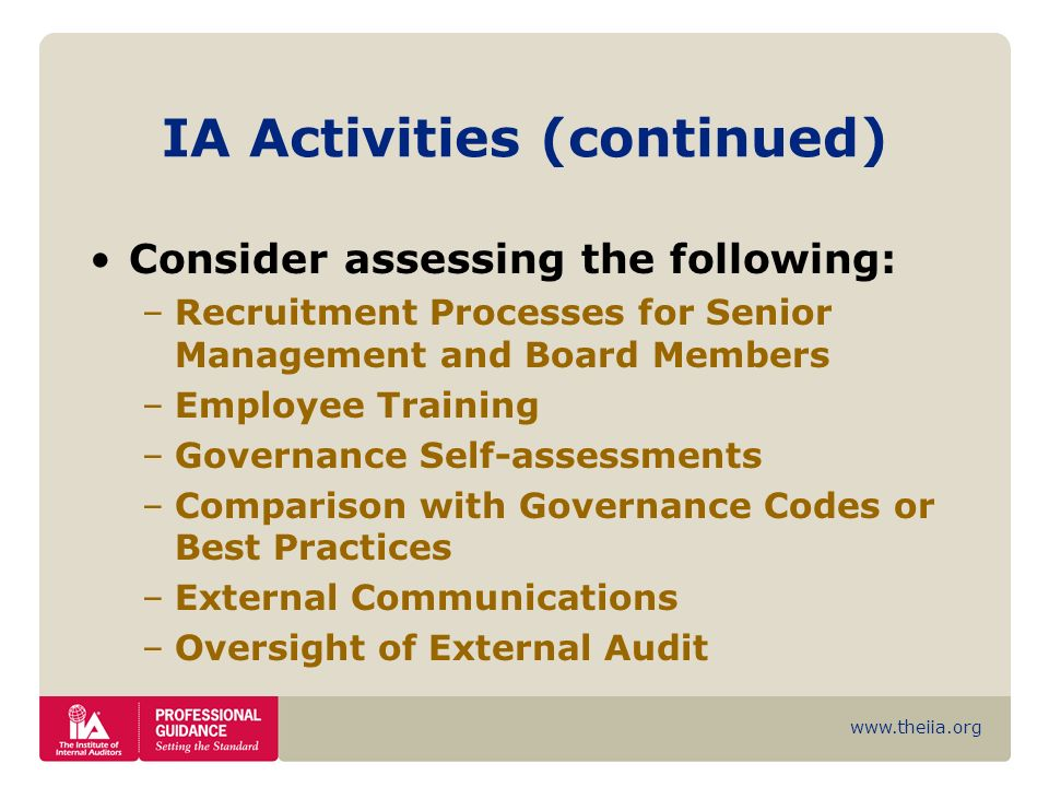 www.theiia.org IA Activities (continued) Consider assessing the following: –Recruitment Processes for Senior Management and Board Members –Employee Tr