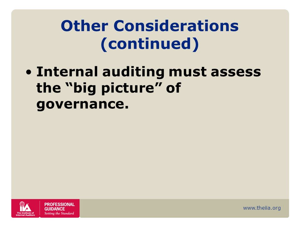 www.theiia.org Other Considerations (continued) Internal auditing must assess the big picture of governance.