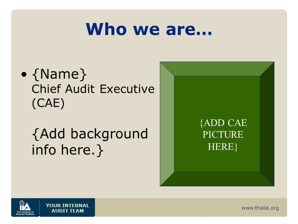 www.theiia.org YOUR INTERNAL AUDIT TEAM Who we are… {Name} Chief Audit Executive (CAE) {Add background info here.} {ADD CAE PICTURE HERE}