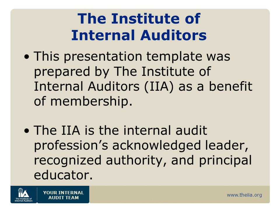 www.theiia.org YOUR INTERNAL AUDIT TEAM The Institute of Internal Auditors This presentation template was prepared by The Institute of Internal Audito
