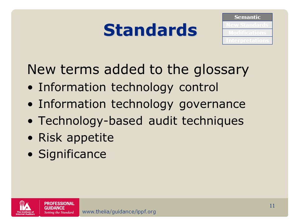 www.theiia/guidance/ippf.org 11 Standards New terms added to the glossary Information technology control Information technology governance Technology-