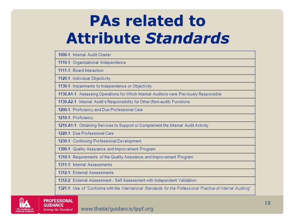 www.theiia/guidance/ippf.org 18 PAs related to Attribute Standards 1000-1: Internal Audit Charter 1110-1: Organizational Independence 1111-1: Board In