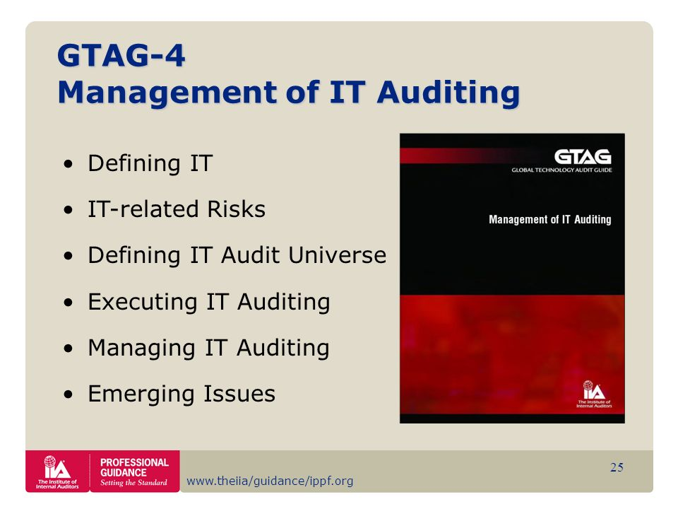 www.theiia/guidance/ippf.org 25 GTAG-4 Management of IT Auditing Defining IT IT-related Risks Defining IT Audit Universe Executing IT Auditing Managin