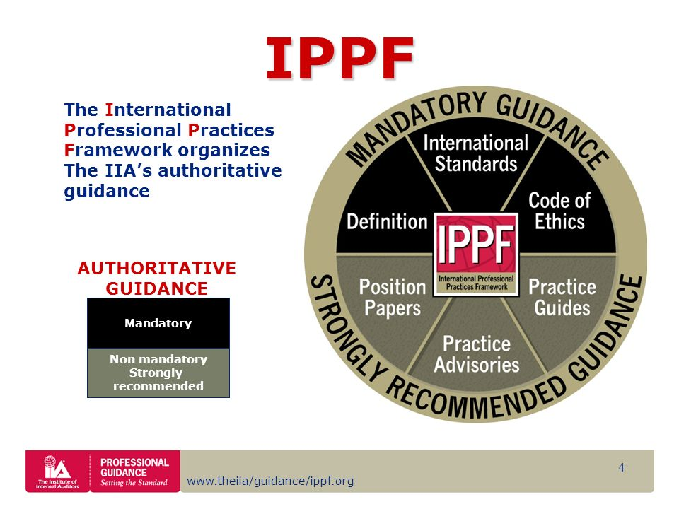 www.theiia/guidance/ippf.org 4 Mandatory Non mandatory Strongly recommended AUTHORITATIVE GUIDANCE The International Professional Practices Framework