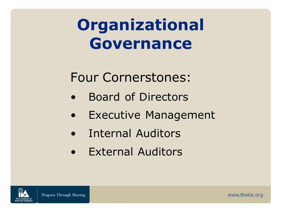 www.theiia.org Organizational Governance Four Cornerstones: Board of Directors Executive Management Internal Auditors External Auditors