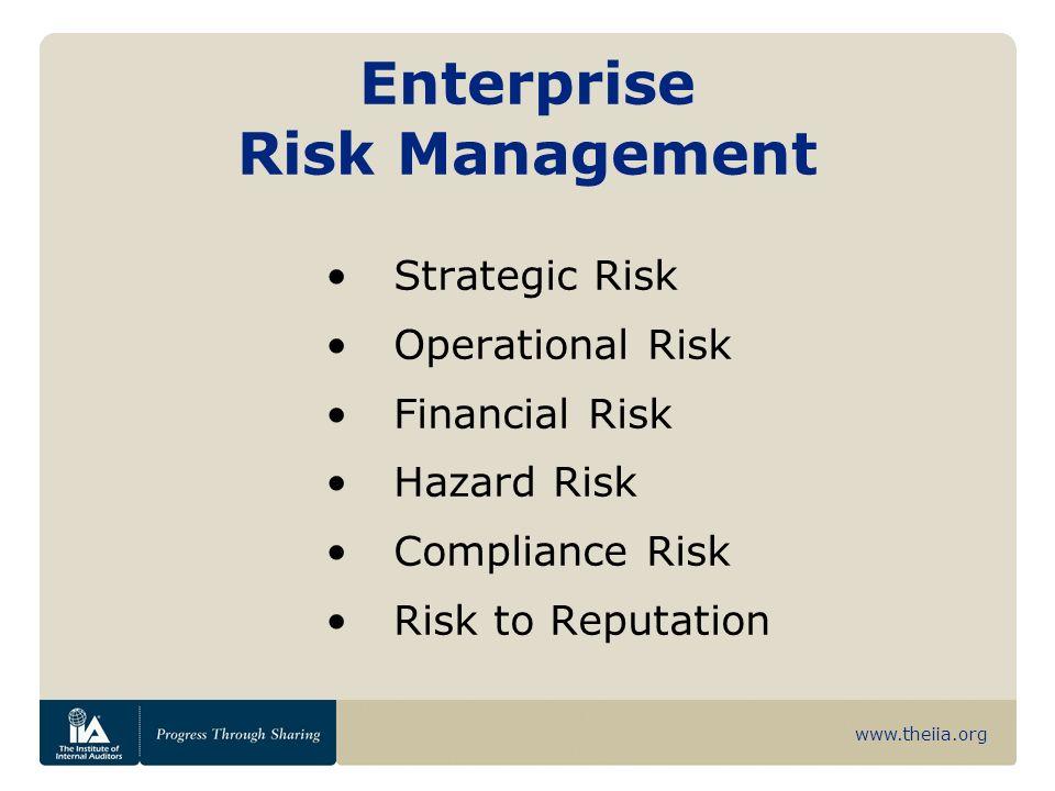 www.theiia.org Enterprise Risk Management Strategic Risk Operational Risk Financial Risk Hazard Risk Compliance Risk Risk to Reputation