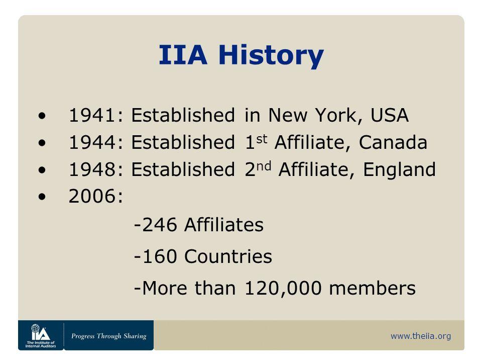 www.theiia.org IIA History 1941: Established in New York, USA 1944: Established 1 st Affiliate, Canada 1948: Established 2 nd Affiliate, England 2006: -246 Affiliates -160 Countries -More than 120,000 members