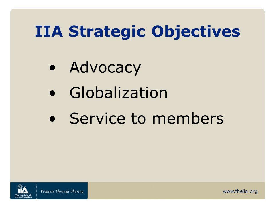 www.theiia.org IIA Strategic Objectives Advocacy Globalization Service to members