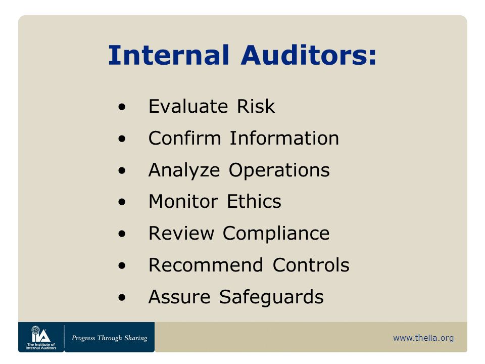 www.theiia.org Differentiation Internal and external auditing are two different professions.