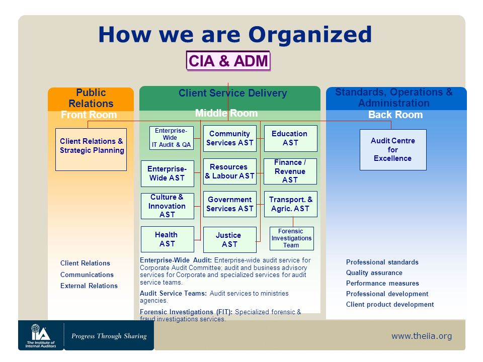 www.theiia.org CIA & ADM Front Room Middle Room Back Room Enterprise- Wide AST Audit Centre for Excellence Public Relations Standards, Operations & Administration Client Service Delivery Client Relations & Strategic Planning Culture & Innovation AST Health AST Community Services AST Education AST Resources & Labour AST Finance / Revenue AST Transport.