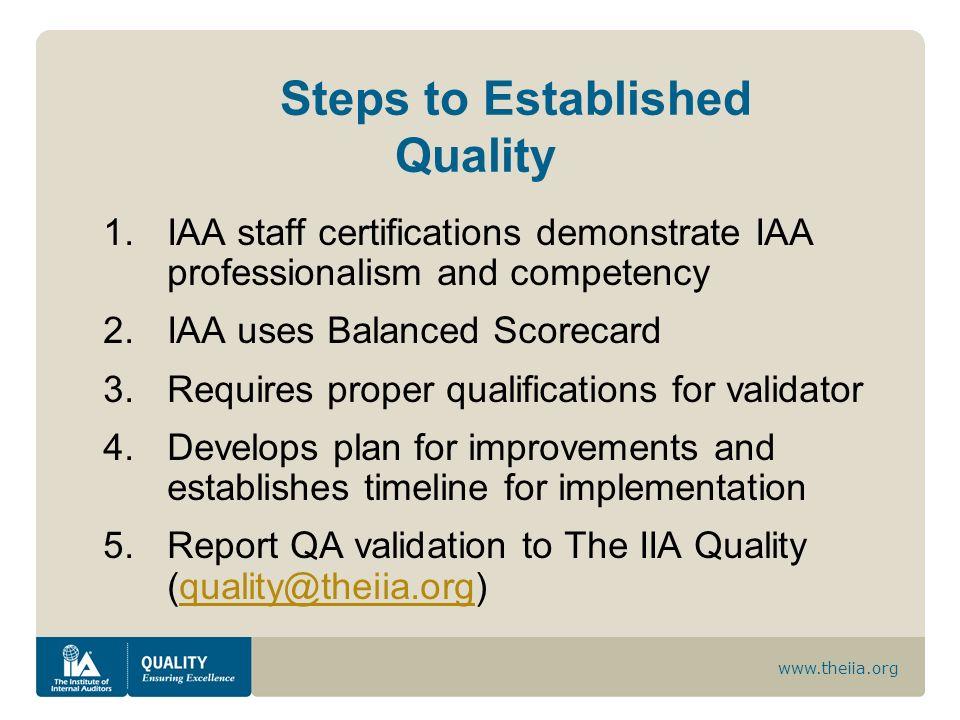 www.theiia.org Steps to Established Quality 1.IAA staff certifications demonstrate IAA professionalism and competency 2.IAA uses Balanced Scorecard 3.