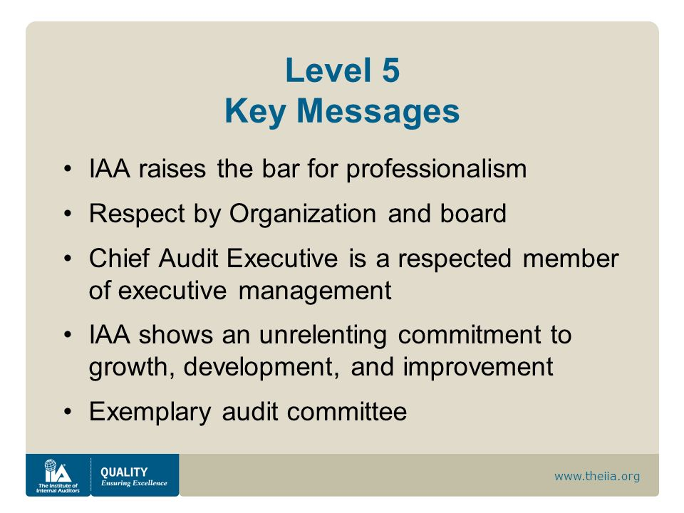 www.theiia.org Level 5 Key Messages IAA raises the bar for professionalism Respect by Organization and board Chief Audit Executive is a respected memb
