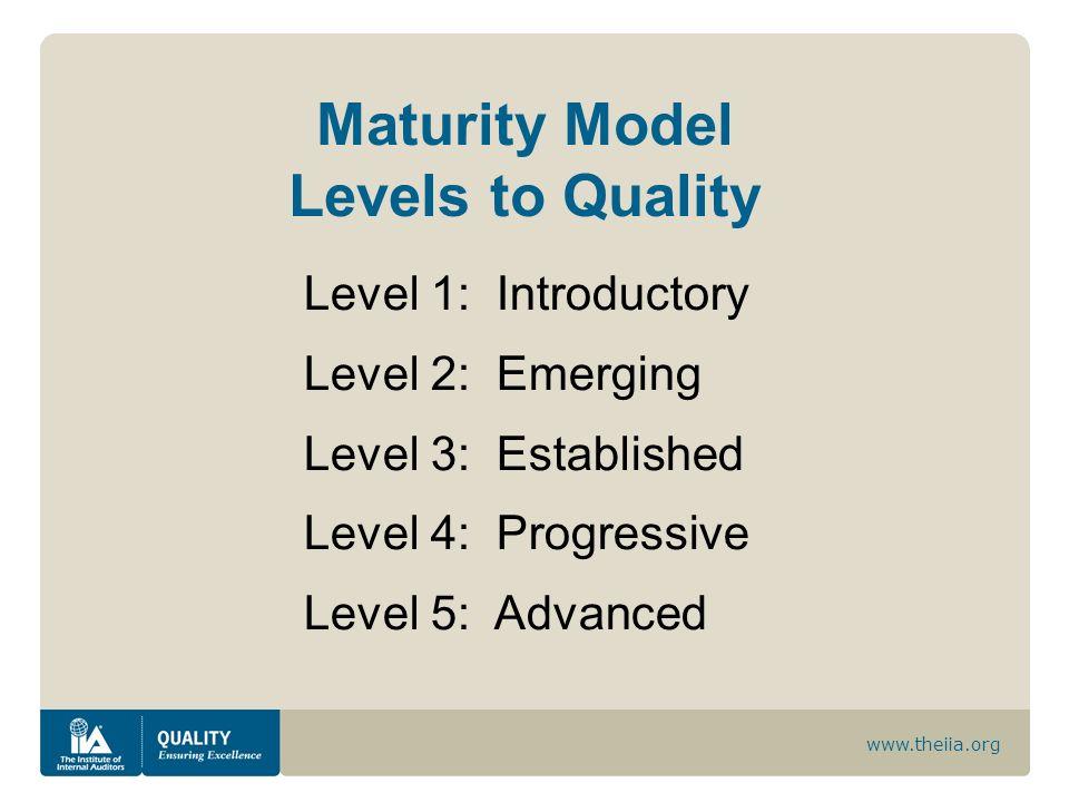 www.theiia.org Maturity Model Levels to Quality Level 1: Introductory Level 2: Emerging Level 3: Established Level 4: Progressive Level 5: Advanced