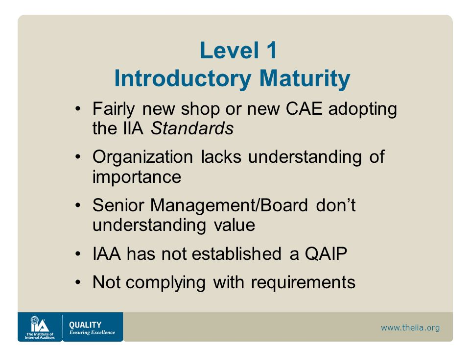 www.theiia.org Level 1 Introductory Maturity Fairly new shop or new CAE adopting the IIA Standards Organization lacks understanding of importance Seni