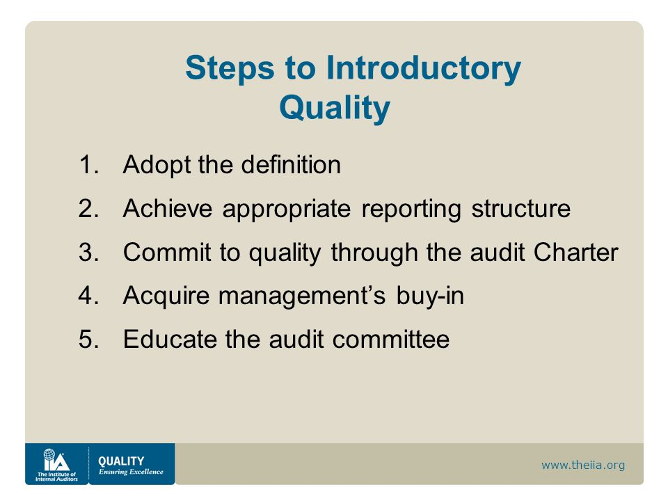 www.theiia.org Steps to Introductory Quality 1.Adopt the definition 2.Achieve appropriate reporting structure 3.Commit to quality through the audit Ch