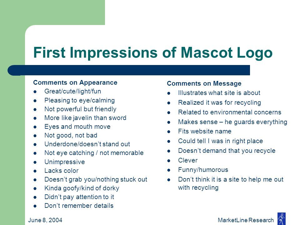 June 8, 2004 MarketLine Research First Impressions of Mascot Logo Comments on Appearance Great/cute/light/fun Pleasing to eye/calming Not powerful but