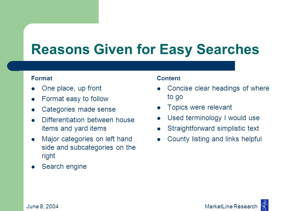 June 8, 2004 MarketLine Research Reasons Given for Easy Searches Format One place, up front Format easy to follow Categories made sense Differentiatio