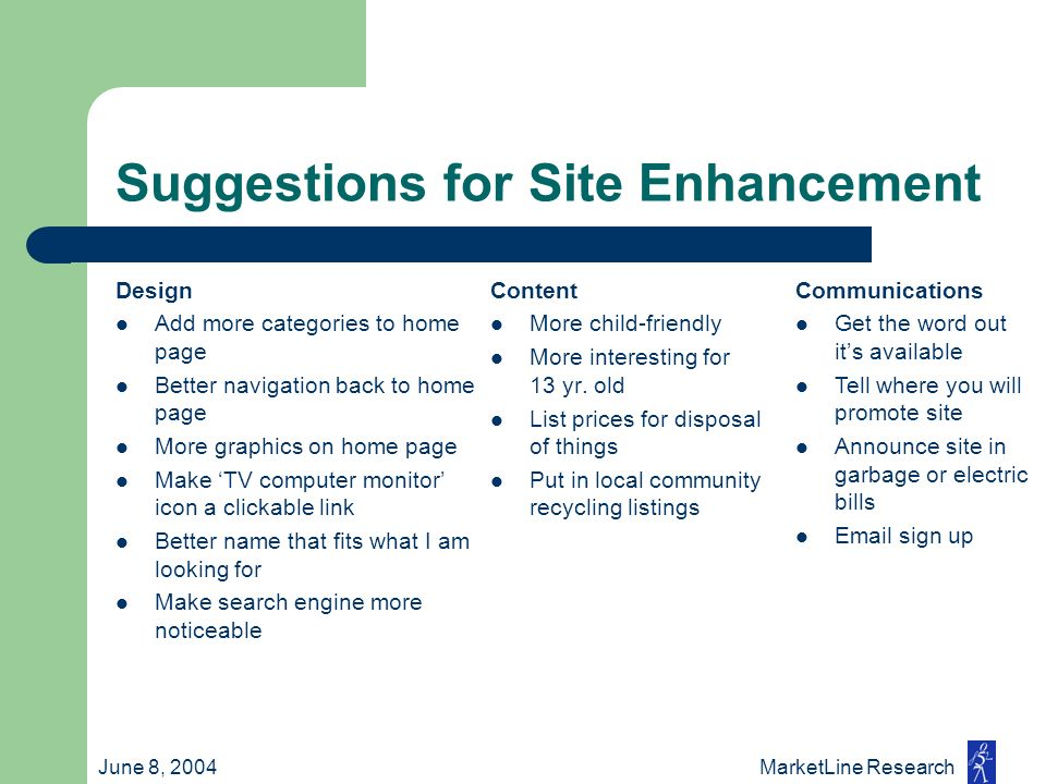 June 8, 2004 MarketLine Research Suggestions for Site Enhancement Design Add more categories to home page Better navigation back to home page More gra