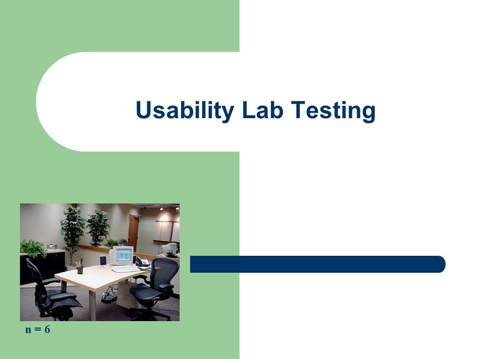 Usability Lab Testing n = 6