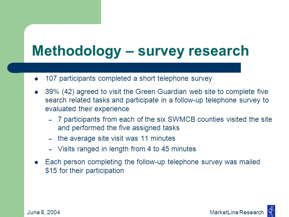 June 8, 2004 MarketLine Research Methodology – survey research 107 participants completed a short telephone survey 39% (42) agreed to visit the Green
