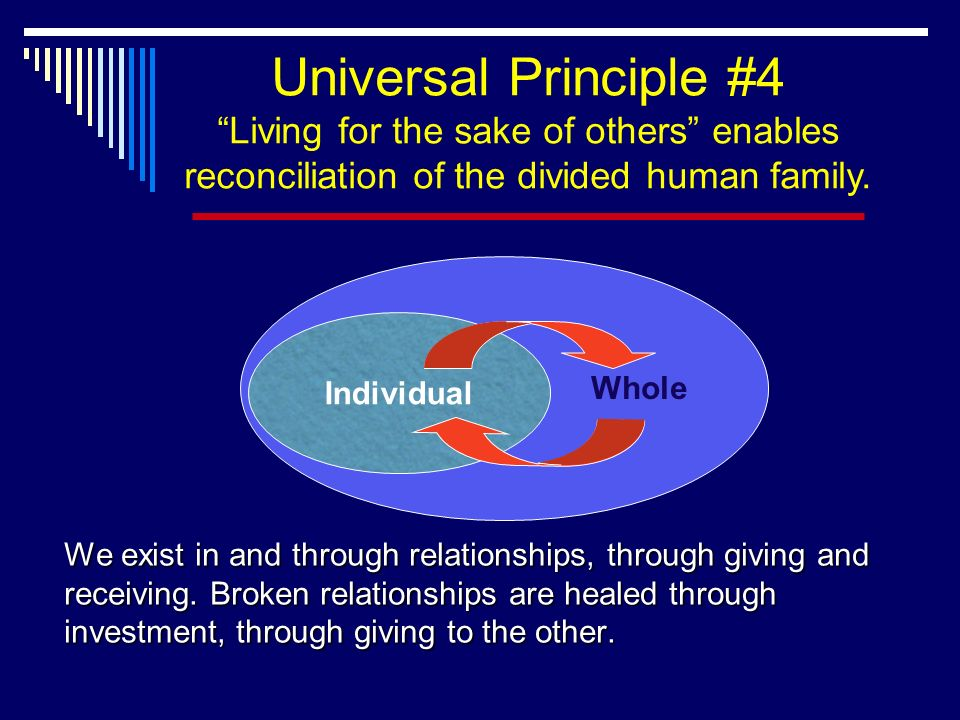 Individual Whole Universal Principle #4 Living for the sake of others enables reconciliation of the divided human family.