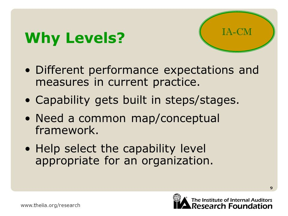 www.theiia.org/research 9 Why Levels? Different performance expectations and measures in current practice. Capability gets built in steps/stages. Need
