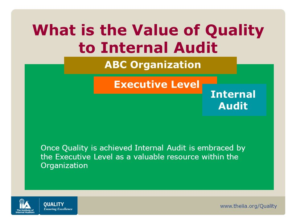 www.theiia.org/Quality What is the Value of Quality to Internal Audit ABC Organization Executive Level Internal Audit Once Quality is achieved Internal Audit is embraced by the Executive Level as a valuable resource within the Organization
