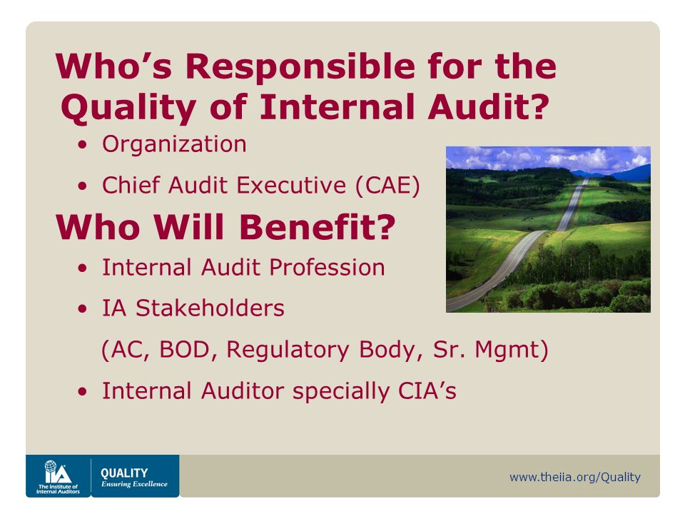 www.theiia.org/Quality Whos Responsible for the Quality of Internal Audit.