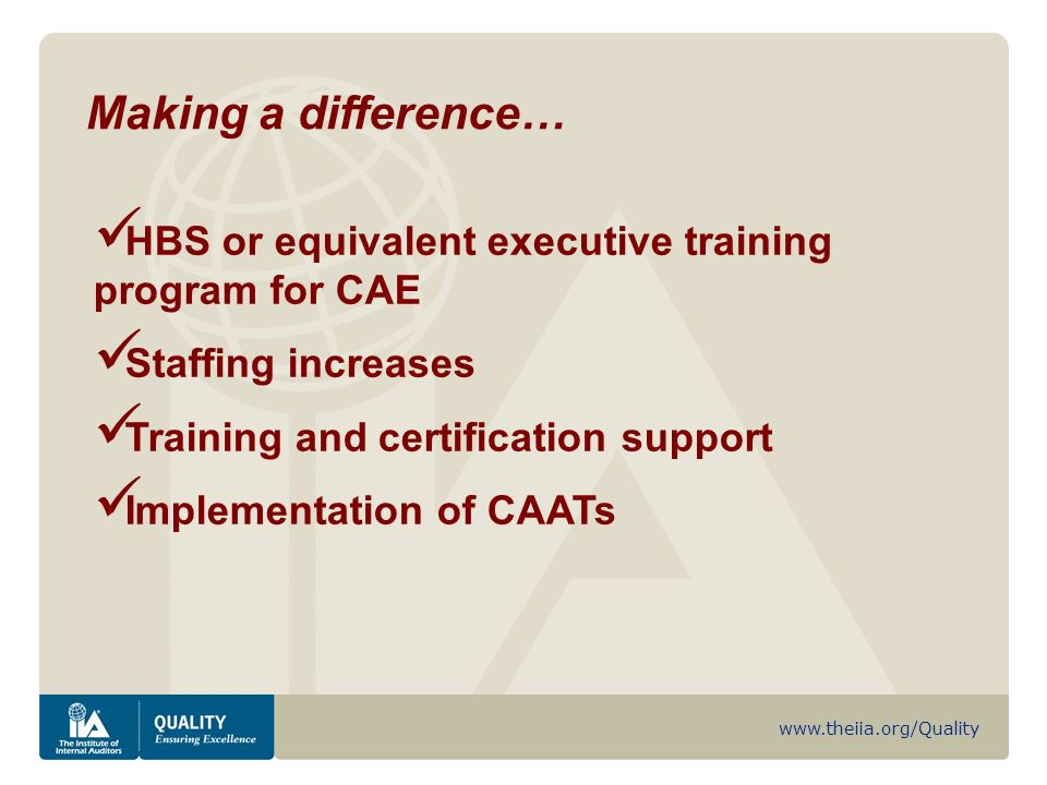 www.theiia.org/Quality HBS or equivalent executive training program for CAE Staffing increases Training and certification support Implementation of CAATs Making a difference…