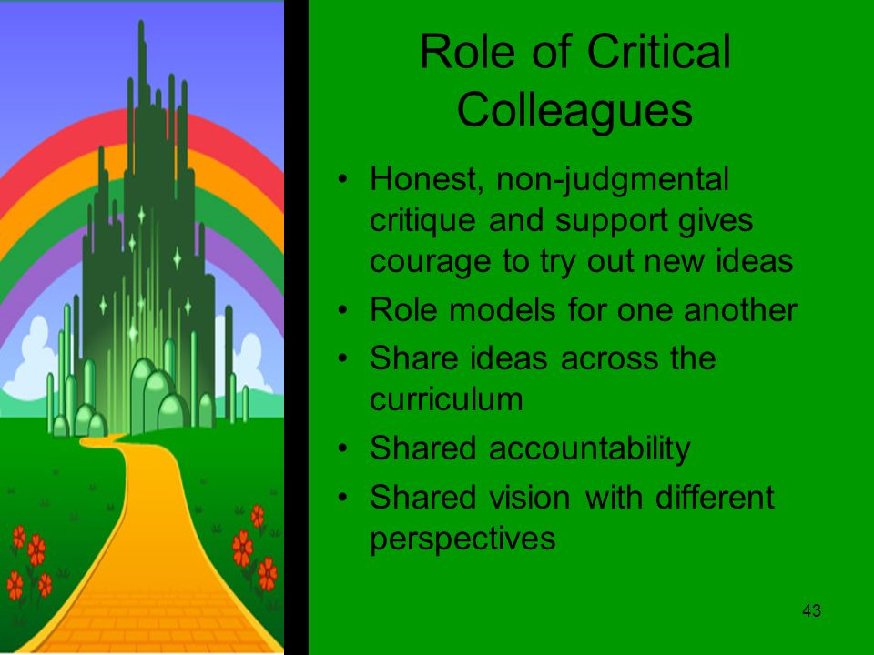 Role of Critical Colleagues Honest, non-judgmental critique and support gives courage to try out new ideas Role models for one another Share ideas across the curriculum Shared accountability Shared vision with different perspectives 43