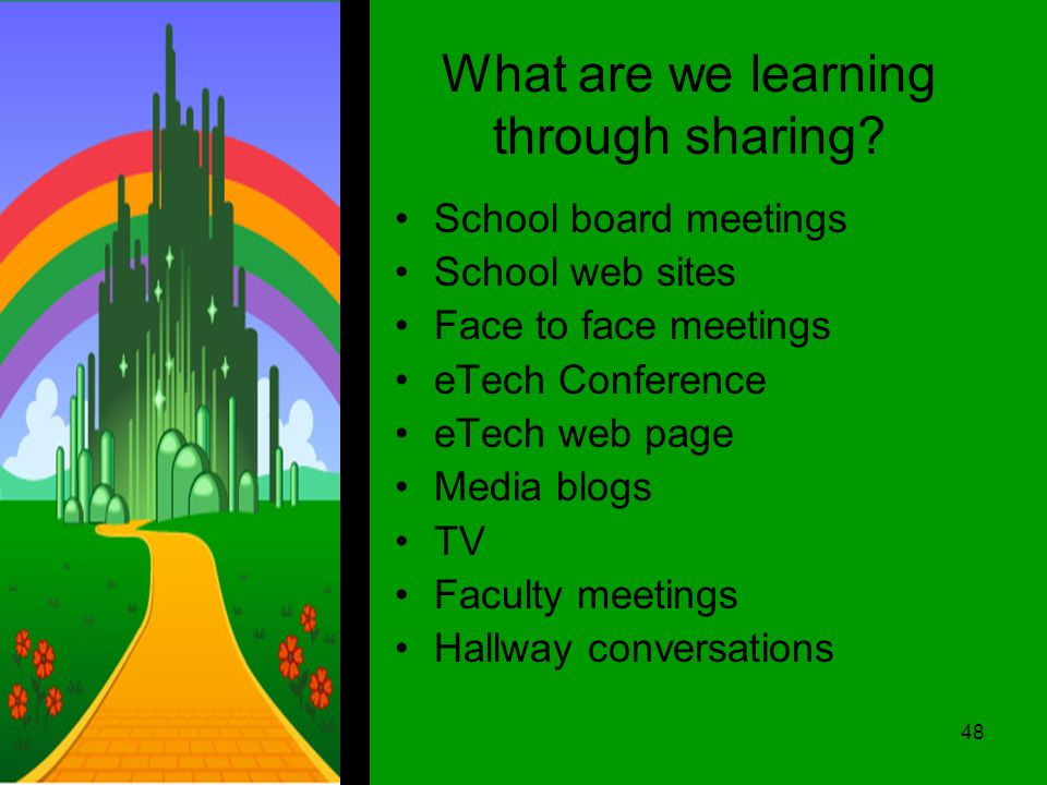What are we learning through sharing.