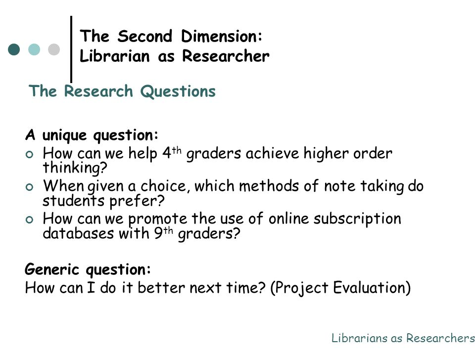 The Second Dimension: Librarian as Researcher A unique question: How can we help 4 th graders achieve higher order thinking? When given a choice, whic