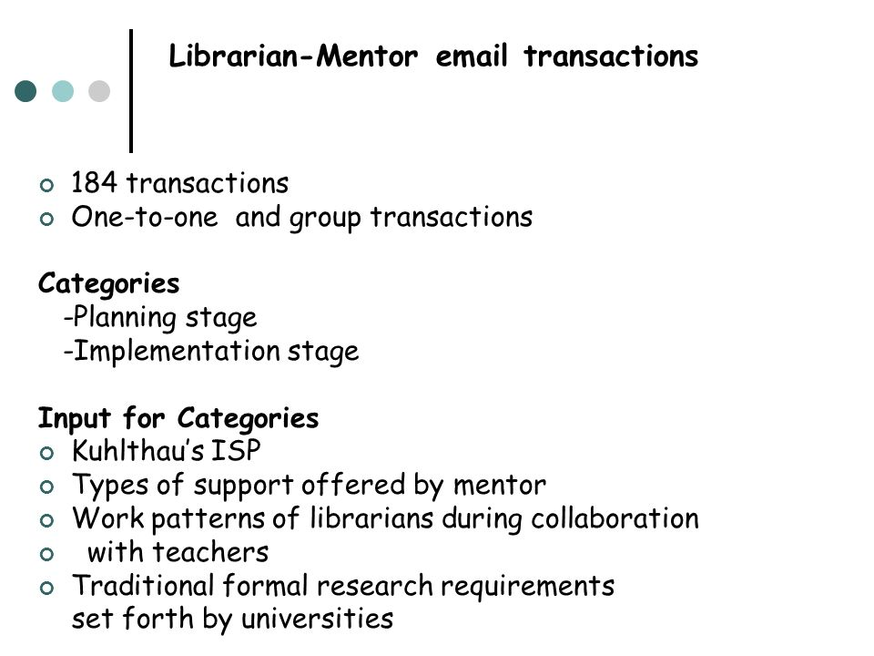 Librarian-Mentor email transactions 184 transactions One-to-one and group transactions Categories -Planning stage -Implementation stage Input for Cate