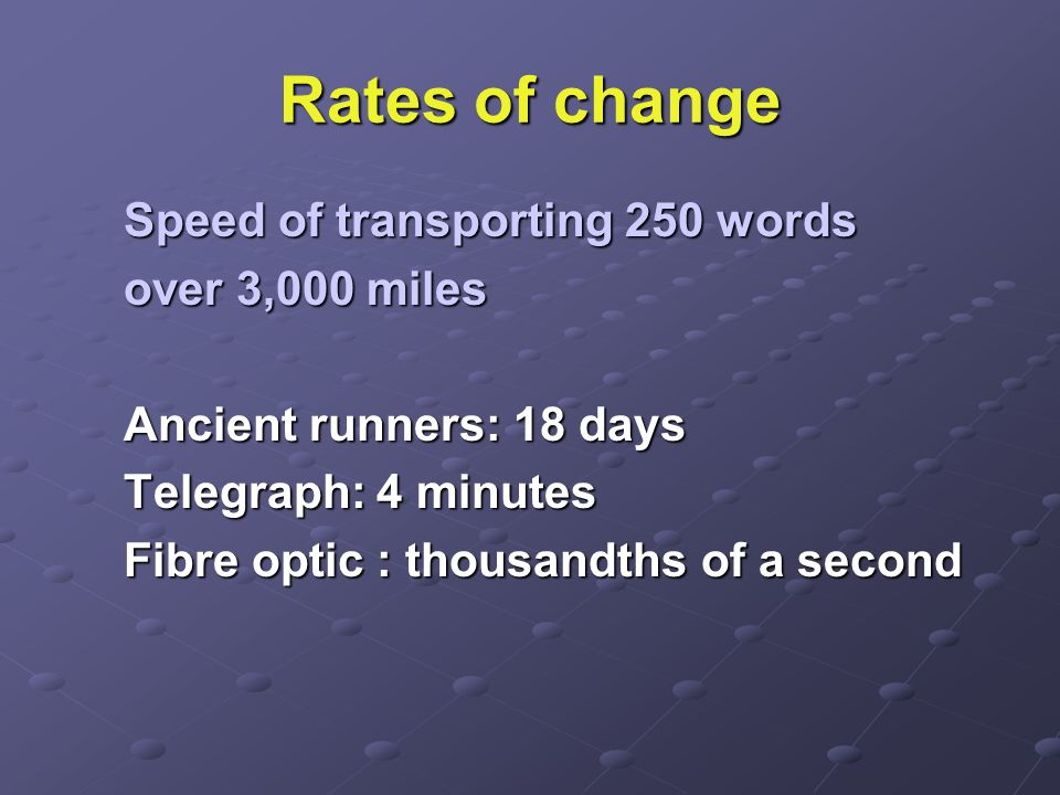 Rates of change Speed of transporting 250 words over 3,000 miles Ancient runners: 18 days Telegraph: 4 minutes Fibre optic : thousandths of a second