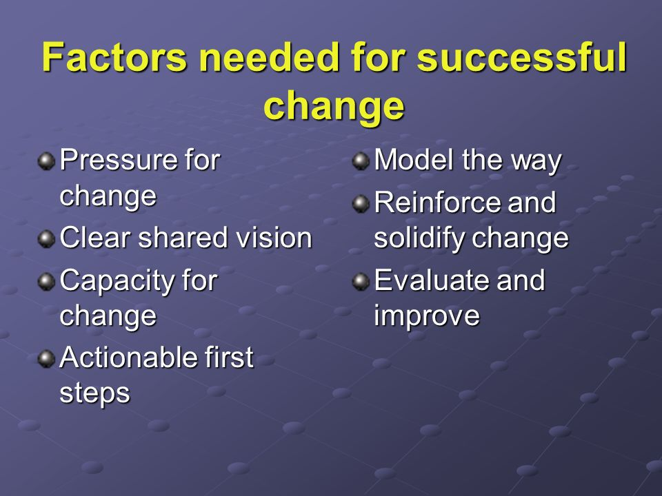 Factors needed for successful change Pressure for change Clear shared vision Capacity for change Actionable first steps Model the way Reinforce and so