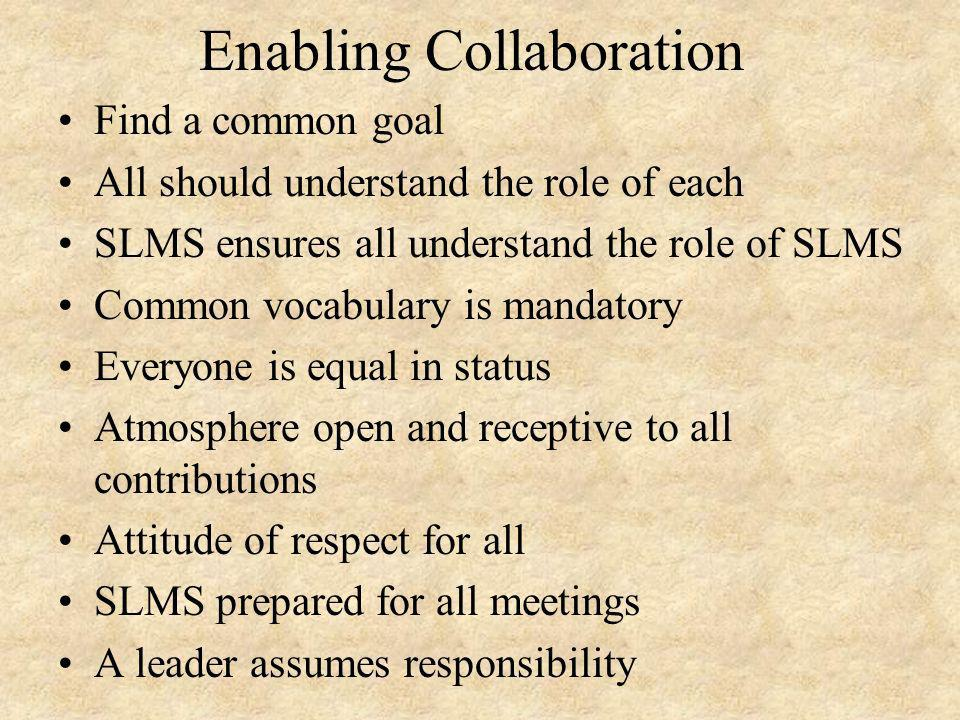 Enabling Collaboration Find a common goal All should understand the role of each SLMS ensures all understand the role of SLMS Common vocabulary is mandatory Everyone is equal in status Atmosphere open and receptive to all contributions Attitude of respect for all SLMS prepared for all meetings A leader assumes responsibility