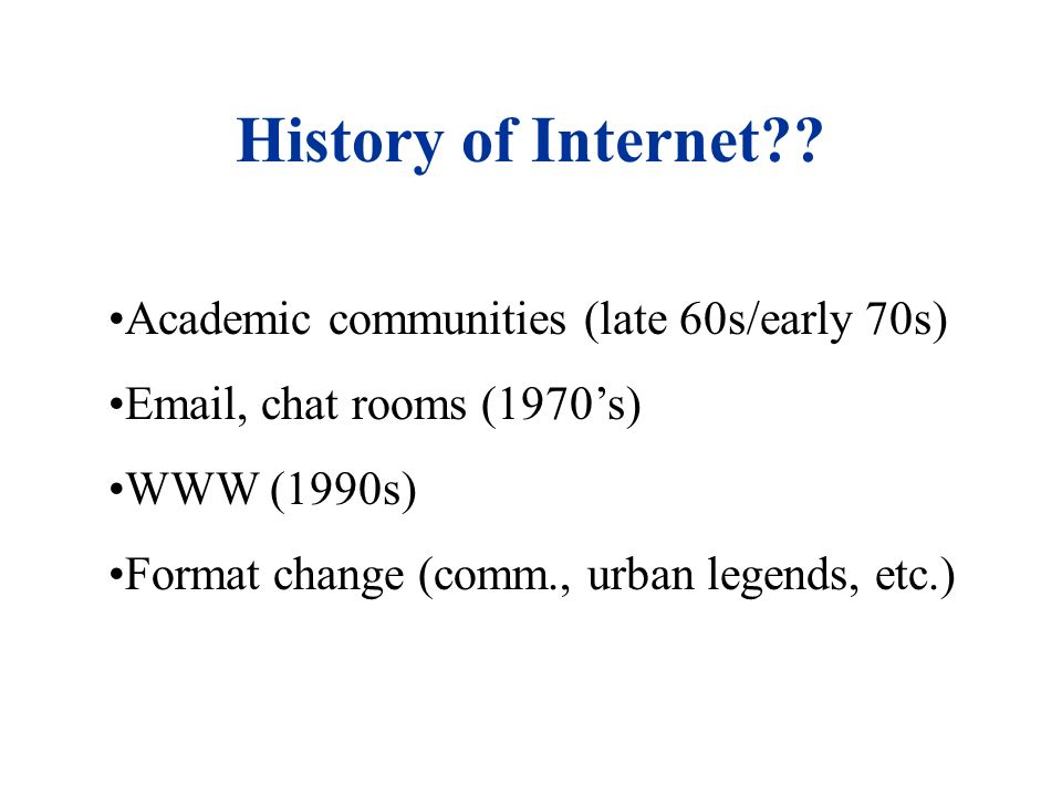 History of Internet .
