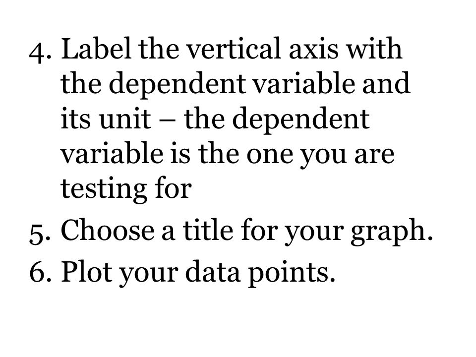 4.Label the vertical axis with the dependent variable and its unit – the dependent variable is the one you are testing for 5.Choose a title for your graph.