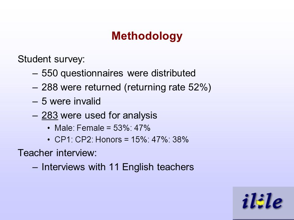 Methodology Student survey: –550 questionnaires were distributed –288 were returned (returning rate 52%) –5 were invalid –283 were used for analysis Male: Female = 53%: 47% CP1: CP2: Honors = 15%: 47%: 38% Teacher interview: –Interviews with 11 English teachers
