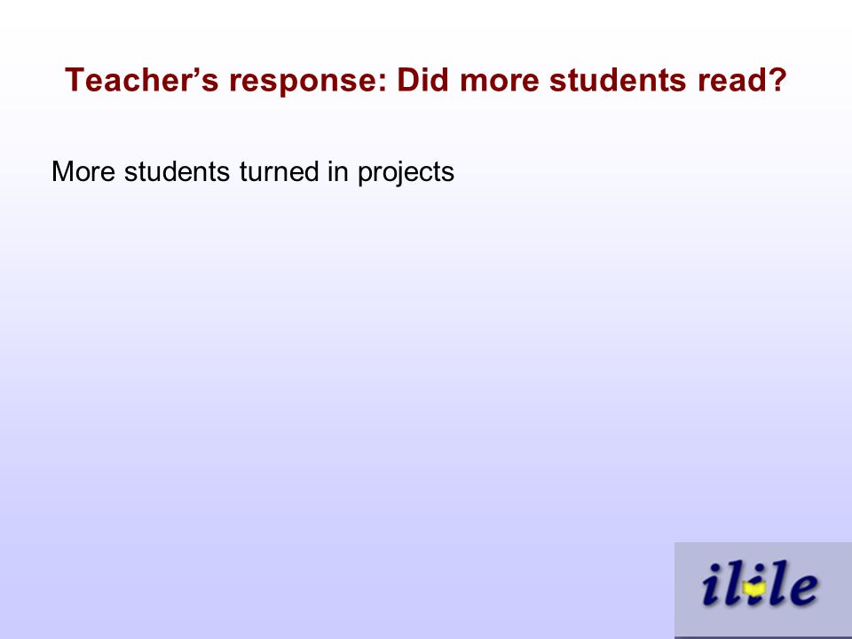 Teachers response: Did more students read More students turned in projects