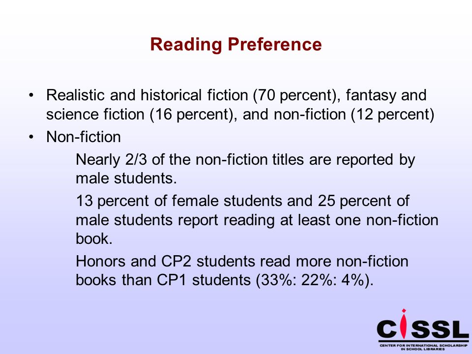 Reading Preference Realistic and historical fiction (70 percent), fantasy and science fiction (16 percent), and non-fiction (12 percent) Non-fiction N